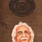 Albert Einstein Indian Miniature Art Handmade Old Stamp Paper Portrait Painting