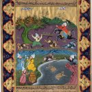 Persian Art Indian Islamic Illuminated Manuscript Handmade Miniature Painting