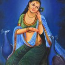 Rajasthan Lady Painting Handmade Indian Damsel Peacock Wall Decor Canvas Oil Art