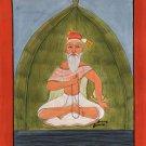 Yoga Art Handmade Indian Miniature Meditating Sikh Udasi Yogi Decor Painting