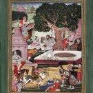 Mughal Emperor Babur Yoga Art Handmade Indian Miniature Baburnama Decor Painting