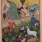 Rare Islamic Handmade Folk Painting Persian Illuminated Manuscript Miniature Art