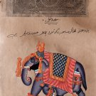 Indian Elephant Miniature Painting Handmade Vintage Stamp Paper Ethnic Decor Art