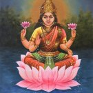 Hindu Goddess Lakshmi Painting Handmade Indian Religious Oil on Canvas Artwork