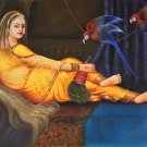 Rajasthan Lady Parrot Painting Handmade Indian Damsel Portrait Canvas Oil Art