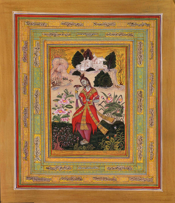 Yoga Art Handmade Indian Miniature Yogini Ethnic Watercolor Bijapur Painting