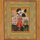 Yoga Art Handmade Indian Miniature Yogini Ethnic Watercolor Bijapur Painting