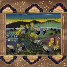 Peacock Bird Indo Persian Miniature Painting Handmade Islamic Nature Ethnic Art