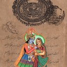 Krishna Radha Religious Art Hindu Handmade God Goddess Watercolor Image Painting