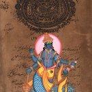 Vishnu Matsya Painting Handmade Hindu God Fish Incarnation Avatar Watercolor Art
