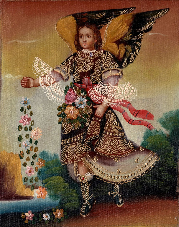 Archangel San Gabriel Peruvian Cuzco Painting Handmade Oil Canvas Religious Painting Art