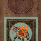 Indian Elephant Ethnic Decor Art Handmade Miniature Vintage Stamp Paper Painting