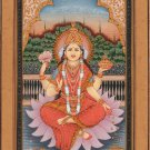 Lakshmi Hindu Goddess Handmade Painting Indian Religious Miniature Spiritual Art