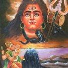 Shiva Ganesha Art Handmade Oil on Canvas Indian Hindu Spirit God Folk Painting