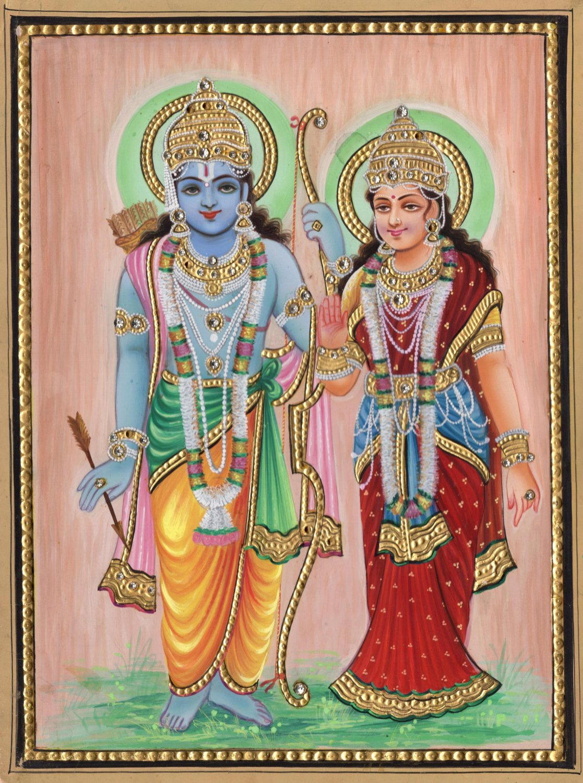 Rama Sita Painting Handmade Indian Hindu Spirit God Goddess Ramayana Decor Art