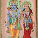 Rama Sita Painting Handmade Indian Hindu Spirit God Goddess Ramayana Decor Art