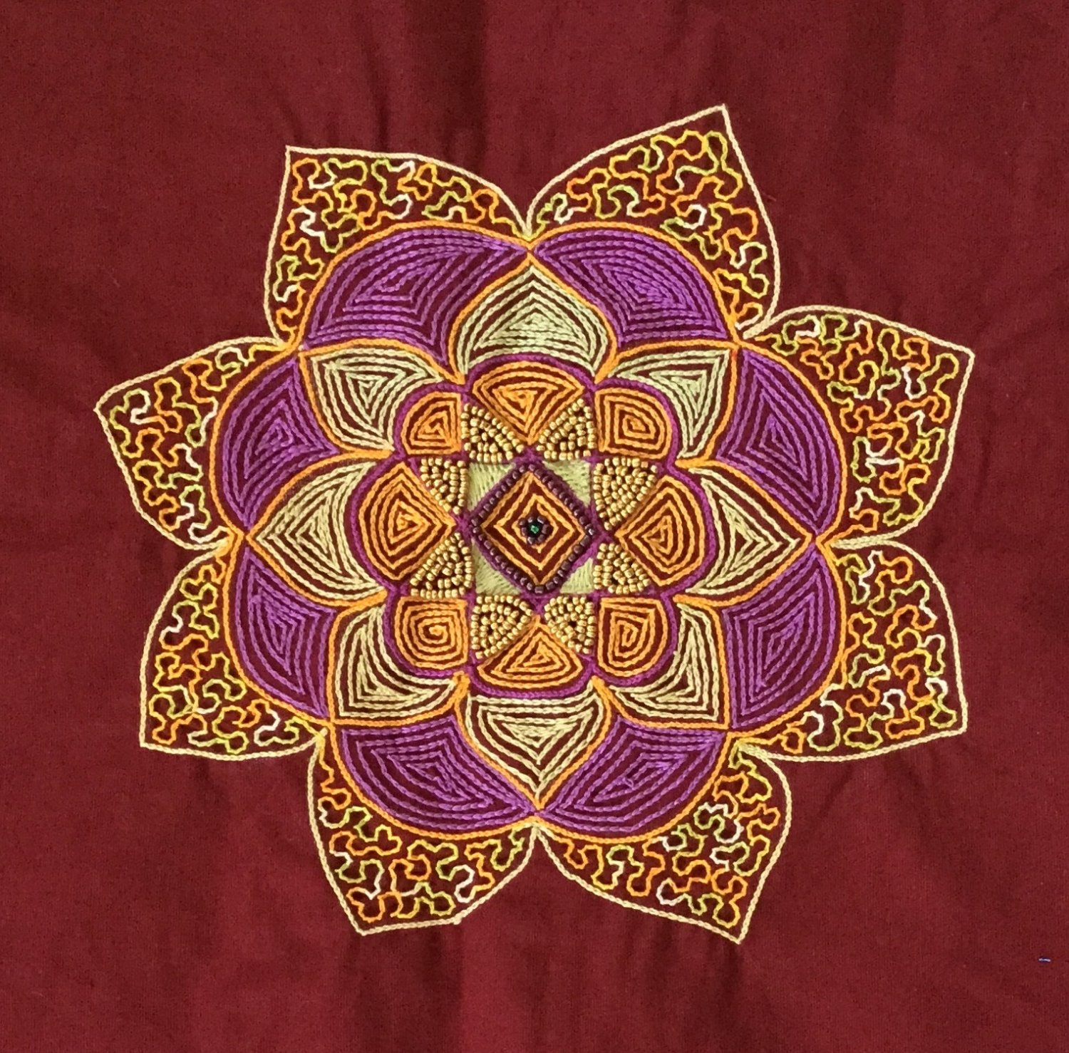 Kolam Pattern Embroidery Artwork Handmade Indian Irula Tribe Decor Handicraft