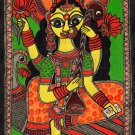 Madhubani Saraswati Goddess Art Handmade Indian Tribal Folk Mithila Painting