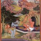 Mughal Yoga Vasishta Art Handmade Indian Miniature Hindu Shiva Yogi Painting