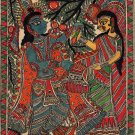 Madhubani Indian Tribal Mithila Folk Painting Handmade Radha Krishna Decor Art
