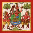 Rajasthani Phad Painting Handmade Indian Folk Miniature Royal Maharani Wall Art
