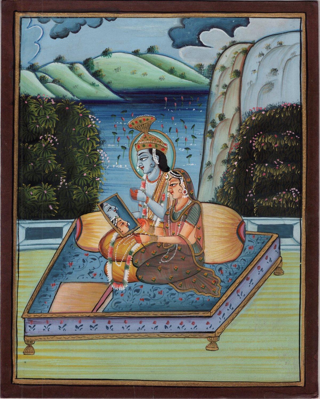 Krishna Radha Painting Handmade Indian Religious Prakasa Samyoga Hindu Artwork