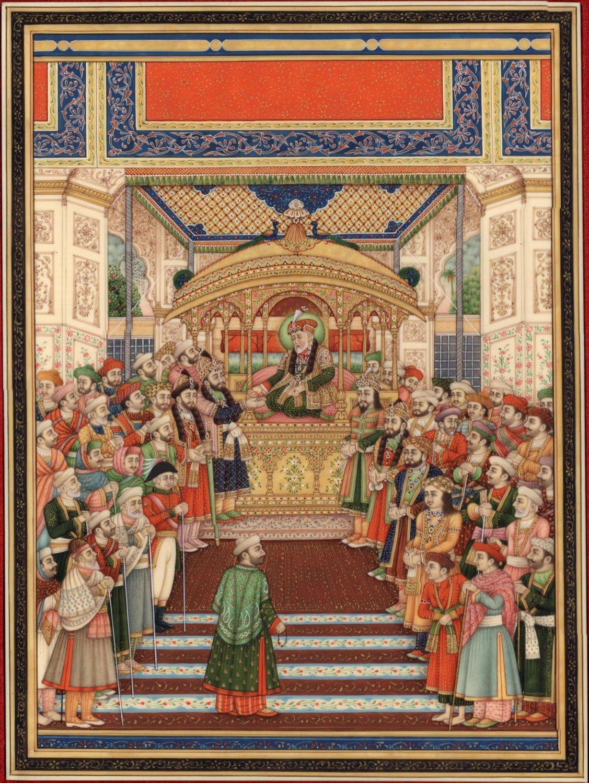 Mughal Miniature Painting Handmade Moghul Empire Art Delhi Durbar of Akbar II