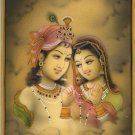 Lord Krishna Radha Painting Handmade Hindu Religious God Goddess Watercolor Art