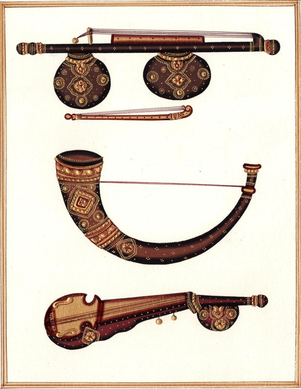 Indian Miniature Painting Handmade Veena Kombu Rabab Musical Instrument Folk Art