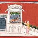 Kangra School Painting Handmade Indian Miniature Maharani Hindu Sage Pahari Art