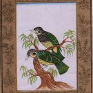 Scaly Ground Roller Painting Handmade Indian Nature Bird Decor Miniature Art