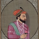 Mughal Shah Jahan Portrait Art Handmade Moghul Indian Emperor Miniature Painting
