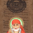 Shirdi Sai Baba Art Painting Rare Old Stamp Paper Indian Hindu Guru Religion Art