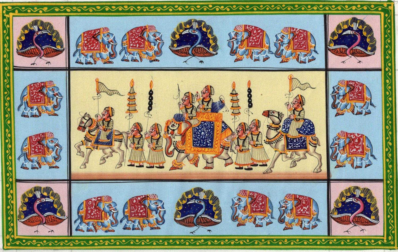 Rajasthani Miniature Painting Handmade Indian Royal Maharajah Procession Folk Art