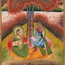 Krishna Radha Painting Handmade Hindu Religious God Goddess Watercolor Image Art
