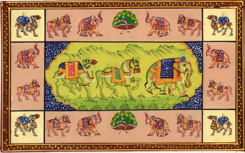 Indian Animal Miniature Painting Handmade Wild Life Nature Ethnic Folk Decor Art