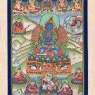 Thangka Painting Handmade Adi Buddha Vajradhara with Buddhist Siddhas Thanka Art