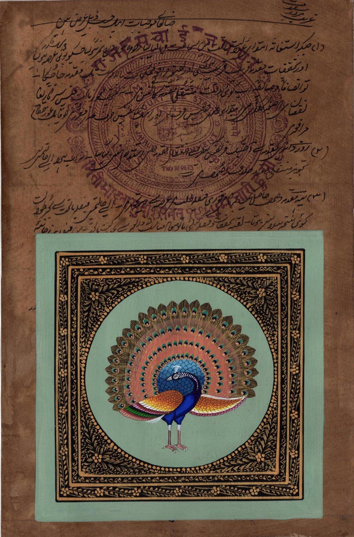 Indian Peacock Bird Miniature Painting Handmade Nature Old Stamp Paper Decor Art