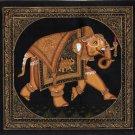 Indian Elephant Ethnic Decor Art Handmade Miniature Udaipur Silk Animal Painting