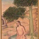 Yoga Virasana Art Handmade Indian Persian Miniature Hero Pose Asana Painting