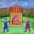Rajasthani Palki Palanquin Painting Handmade Indian Ethnic Canvas Oil Decor Art