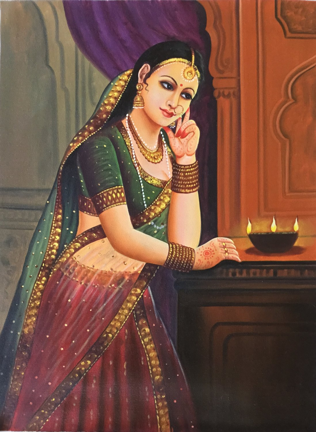 Rajasthan Indian Princess Art Handmade Damsel Wall Decor Oil on Canvas Painting