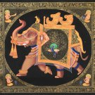 Indian Ganesha Elephant Peacock Decor Art Handmade Miniature Rajasthan Painting