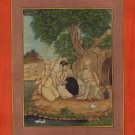 Mughal Yoga Art Handmade Indian Miniature Yogi and Royalty History Painting