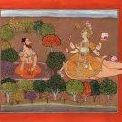 Meditation Yoga Painting Handmade Indian Miniature Yogi Goddess Tantric Folk Art