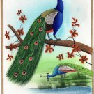 Modern Handmade Indian Peacock Art Blue Green Feather Watercolor Silk Ethnic Art