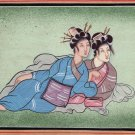 India Japan Art Handmade Indo Japanese Miniature Ethnic Folk Portrait Painting