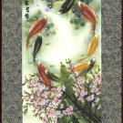 Chinese Miniature Painting Handmade Silk Rice Paper Koi Fish Watercolor Art