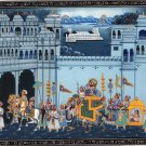 Rajasthani Miniature Art Handmade Indian Royal Maharaja Procession Folk Painting
