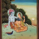 Lord Krishna and Radha Handmade Hindu Religious God Goddess Watercolor Decor Art